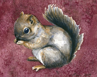 ACEO Baby Squirrel giclée print / Art Card