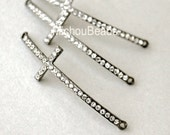1 SIDEWAYS Rhinestone CROSS Connector - 52x15mm Gunmetal Black Sideways Clear Crystal Rhinestone Pave Curved Cross - USA Seller - 5598