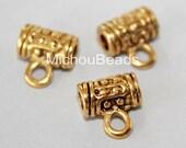 100 ANTIQUED Gold 10mm Charm HOLDER Bail Beads - 10x6mm Tibetan Style Nickel Free Metal Tube w/ Loop n 3mm Hole - USA Discount Beads - 5711