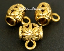 25 ANTIQUED Gold Charm HOLDER Bail - 9x11mm Tube w/ Flower and Loop - Large 3.5mm Hole Tibetan Style Holder - Instant Ship from USA - 5461