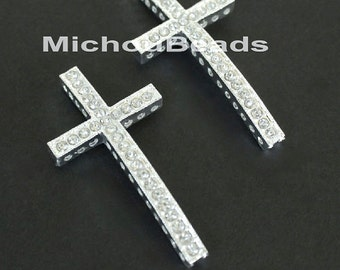 3 SIDEWAYS 46mm Silver Rhinestone CROSS Connector Charm Link - 46x25mm Lead Free Sideways Clear Crystal Rhinestone Pave Curved Cross - 5709