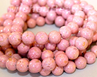 """8"""" Strand - 4mm PINK Natural RIVERSTONE - Round Opaque Natural River Stone Gemstone Wholesale Bead -  Instant Ship from USA  - 5293"""