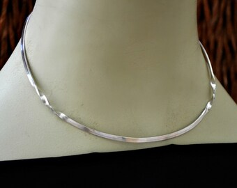 "3 mm sterling silver choker necklace neck wire.  ""Two Twisted"" neck hugger"