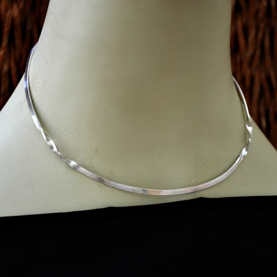 3 Mm Sterling Silver Choker Necklace Neck Wire. Two