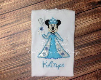 Minnie Mouse as Elsa Frozen - Appliqued and Personalized