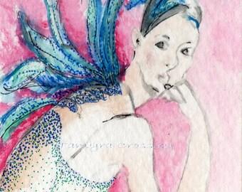 Fairy Lady ATC ORIGINAL Watercolor by Tamyra Crossley.  2 1/2 x 3 1/2.