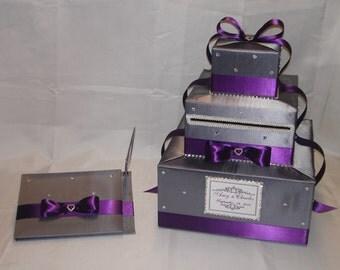 Elegant Custom made Wedding Card Box/Guest Book set-rhinestones-any colors