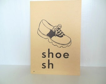 "Vintage Picture Flash Card Shoe Large (8"" by 5 1/2"") Paper Ephemera 1950's (item 12)"