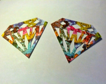 You choose 24 Bling GEMSTONES DIAMOND  or Gold Shimmer  paper punch, die cuts, 2 AND 1 fourth inch in size Hand punched