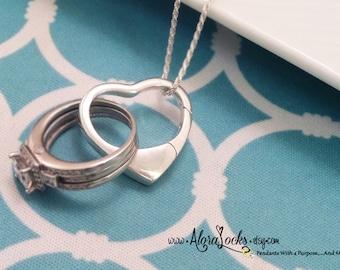 AloraLocks THE ORIGINAL Large  Floating Heart Wedding Ring & Charm Holder / Holding Pendant-Sterling Silver