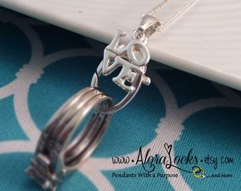 "AloraLocks  ""Love"" Wedding Ring & Charm Holder Pendant Sterling Silver"