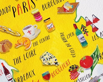 Kitchen Art French Food Map Print 5x7