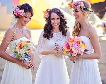 Long Tulle Skirt, Bride Tulle Skirt, Couture Skirt, Bridal Separates, Detachable Tulle Skirt, 2 piece wedding dress
