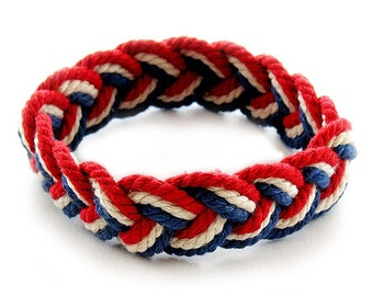 Red White and Blue Sailor Friendship Bracelet USA