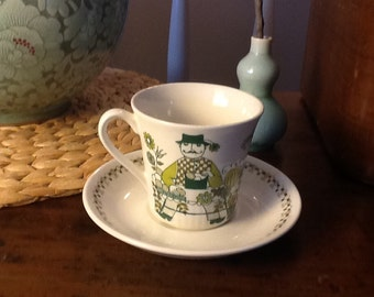 Vintage Turi Figgjo Bone china teacups Made in Norway 1960s