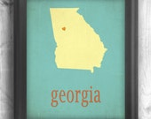 Georgia Giclee print map art state poster Letterpress Style print, wall sign choose your color choose your size