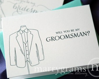 Will You Be My Groomsman, Best Man, Wedding party... Bridal Party Tuxedo Suit Invitation Cards - Fun Way to Ask Groomsmen Cards (Set of 6)