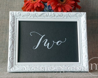 Rustic Table Number Signs - Perfect Wedding Reception -Table Cards Handwritten Script, Simple Calligraphy Numbers White Ink (Set of 10) SS09