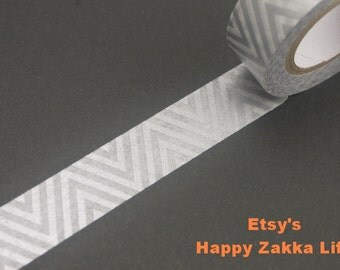 Japanese Washi Masking Tape - Silver Zig-Zag - 11 Yards