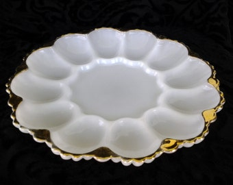Vintage Milk Glass Deviled Egg Plate with Gold Trim by Fire King Anchor Hocking