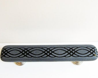 Unique Fused Glass Pull Cabinet Pulls, Gray and Black Drawer Pulls, Closet or Pantry Door Handles, Sandblasted Furniture Pulls, Hutch Pulls