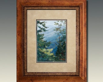 Framed Double Matted Light Touch Print Smoky Mountain Art