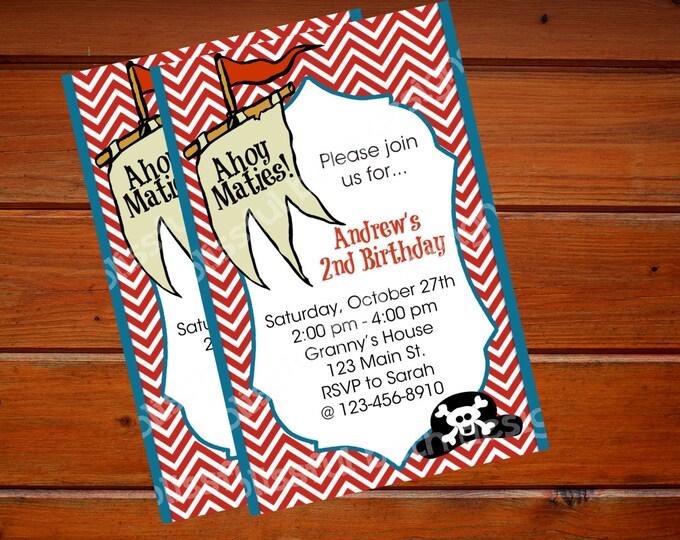 PERSONALIZED PIRATE INVITATION Pirate Birthday Invitation, Printable Pirate Birthday Invitation, Personalized Pirate Invite