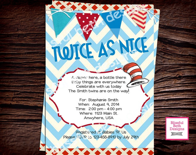 SEUSS TWINS SHOWER Twins Dr. Seuss Baby Shower Printable Invitation (Red and Blue), Baby Shower Invitation, Dr. Seuss Invitation, Twins