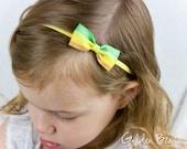SALE - Small Yellow and Green Striped Bow Baby Handmade Headband - Infant to Adult Headband