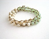 Freshwater Pearl Boho Wrap Bracelet, Ivory, Opal Mint Green, Romantic, Boho Luxe, Made to Order