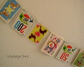 Vintage Game Card Banner Bunting, Colorful Party Banner, Child's Party Bunting