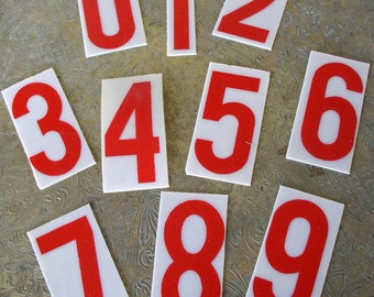 Vintage Numbers Red Plastic Sign Numbers