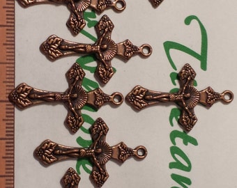 10 pcs per pack 32x19mm Crucifix Charm Antique Copper Finish Lead Free Pewter