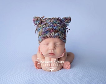 PDF Crochet Pattern - newborn photography prop star stitch kitty hat #29