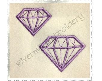 Small Diamond Gem Applique Machine Embroidery Design - 4 Sizes