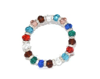 Spring Multi Colored Crystal Bracelet Hand-Beaded Stretchy Fits All