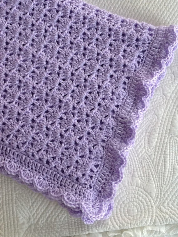 "Soft and Cozy Baby Afghan in ""Lavender"", Lavender Crochet Baby Afghan, Crochet Baby Blanket, Valentine Gift for Baby"