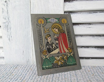 Antique Pewter Retablo Jesus Religious Eucharist Holy Communion Vintage Painted Art Panel Colored Metal Ancient Artwork