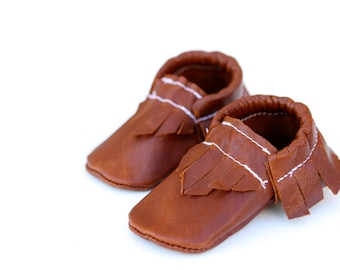 Distressed Walnut Brown Rust Leather Baby Moccasins