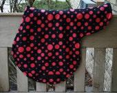 Horse Saddle Pad AP Shape Fleece - Hot Pink Polka Dots with Black Billets