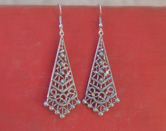 Silver Filigree Earrings, Bohemian Jewelry, Vintage Style, For Her
