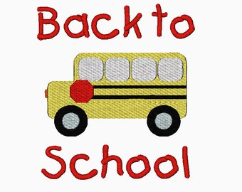 Back to school bus filled machine embroidery design.  Multiple sizes.  Instant download.