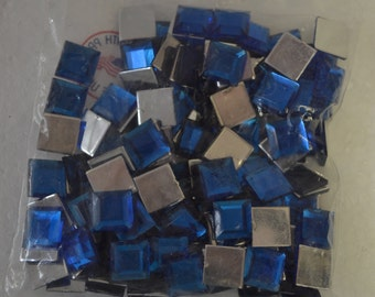 10MM Square Acrylic Jewel Royal Blue Color 1 Gross