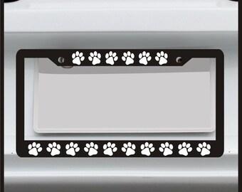 Paw Print - License Plate Frame - Funny Custom Dog Cat Puppy Kitten -