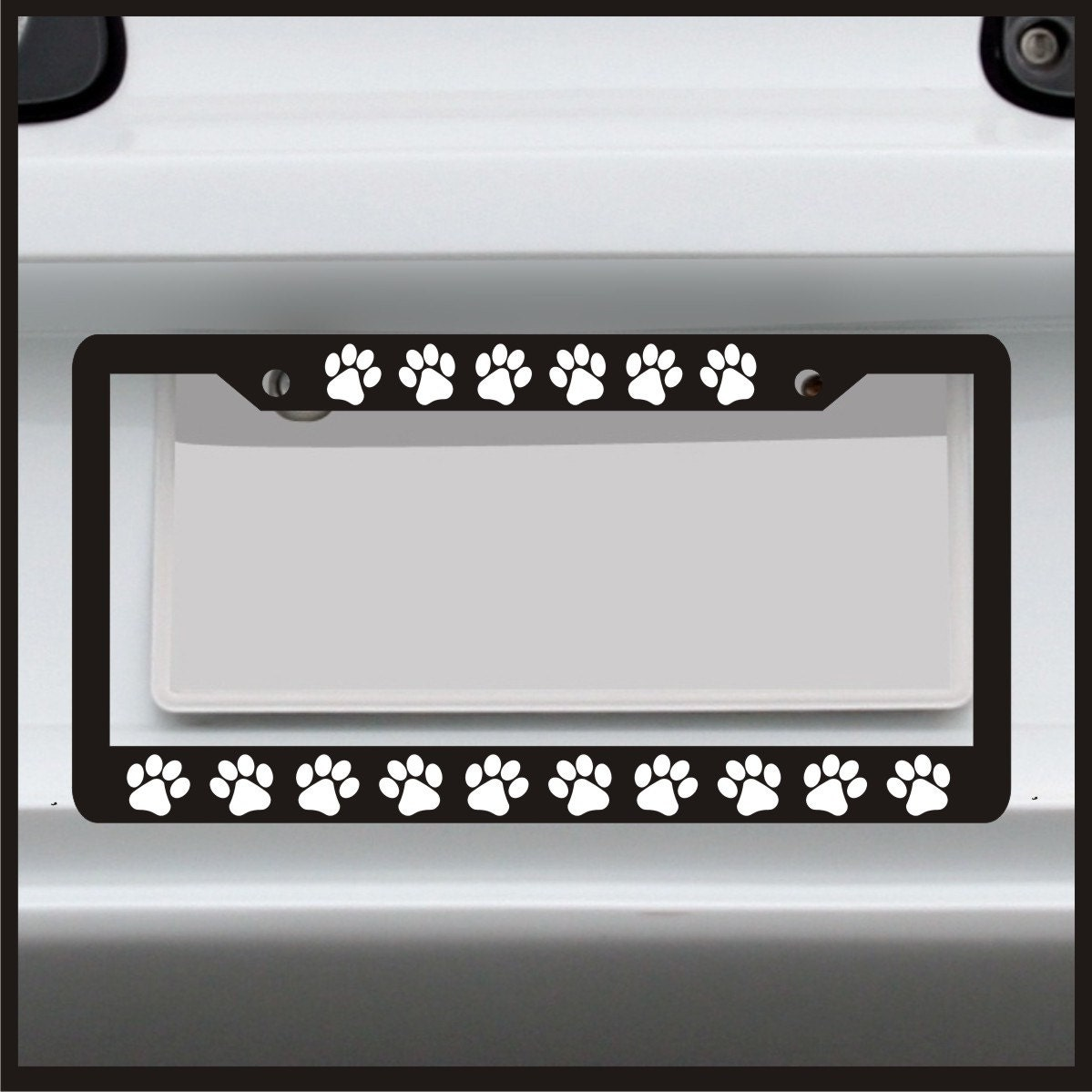 Paw Print License Plate Frame Funny Custom Dog Cat Puppy