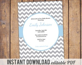 Chevron Baby Shower Invitation Boy Baby Shower Invite, grey and blue, traditional, digital, printable file, instant download, editable PDF