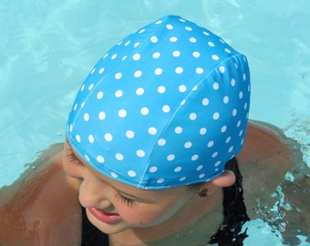 Lycra SWiM CaP - PEACOCK POLKA DOT - Sizes - Baby , Child , Adult , Xl - Made from Spandex / Swimsuit Swimming Fabric - Froggie's Swim Caps