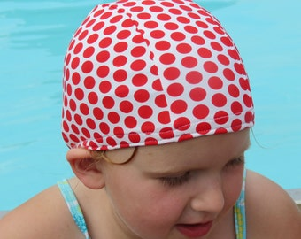 Lycra SWiM CaP - WHITE with RED Polka Dots - Sizes - Baby , Child , Adult , XL - Made from Spandex / Swimsuit Swimming Fabric -by Froggie's
