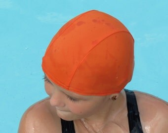 Lycra SWiM CaP - ORANGE - Sizes - Baby , Child , Adult , XL - Made from Spandex / Swimsuit Swimming Fabric -by Froggie's Swim Caps