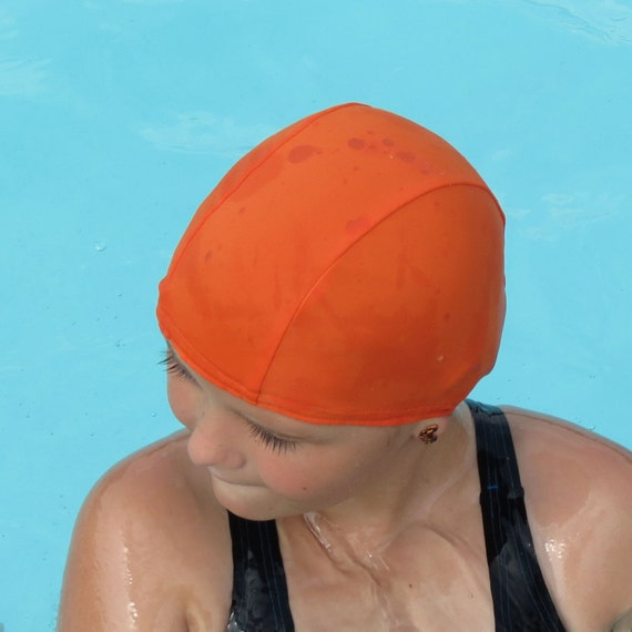 lycra swim cap orange sizes baby child adult xl. Black Bedroom Furniture Sets. Home Design Ideas